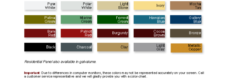 Reeds Metal Color Chart